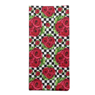 Red Roses Bouquet Floral Love Rockabilly Checkered Napkins