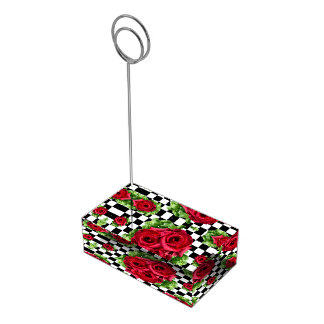Red Roses Bouquet Floral Love Rockabilly Checkered Place Card Holder