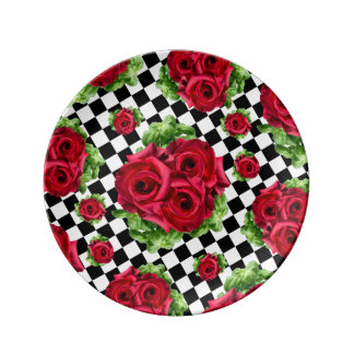 Red Roses Bouquet Floral Love Rockabilly Checkered Plate