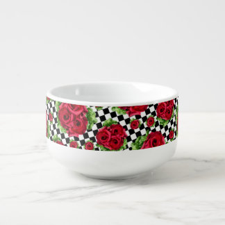 Red Roses Bouquet Floral Love Rockabilly Checkered Soup Mug