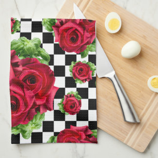Red Roses Bouquet Floral Love Rockabilly Checkered Tea Towel