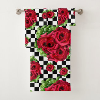 Red Roses Bouquet Floral Love Rockabilly Chequered Bath Towel Set