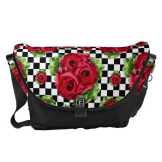 Red Roses Bouquet Floral Love Rockabilly Courier Bags