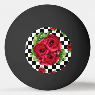 Red Roses Bouquet Floral Love Rockabilly Ping Pong Ball