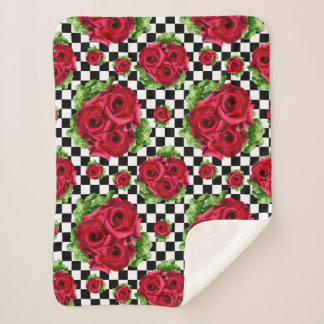 Red Roses Bouquet Floral Love Rockabilly Sherpa Blanket
