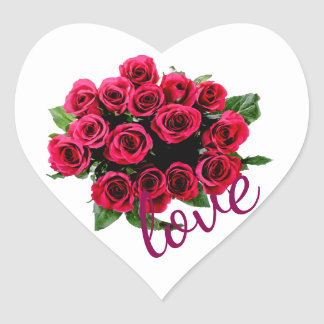 Red Roses Bouquet with Love on White Heart Sticker