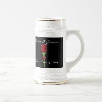 Red Roses Bride and Groom Wedding Date Stein Beer Steins