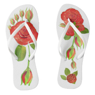 Red Roses Buds Floral Shower Shoes FlipFlops2 Thongs