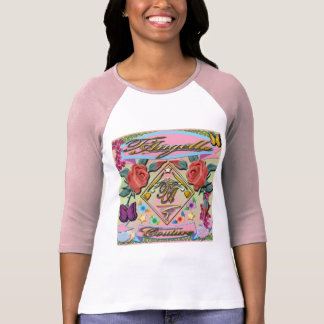 Red roses, butterflies, flowers 3/4 Sleeve Raglan T-Shirt