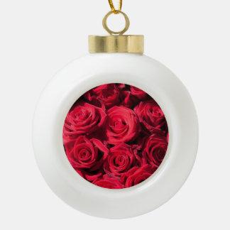 Red roses ceramic ball decoration