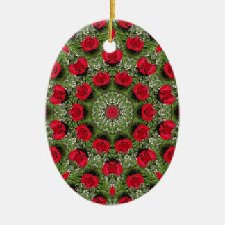 Red roses ceramic oval decoration