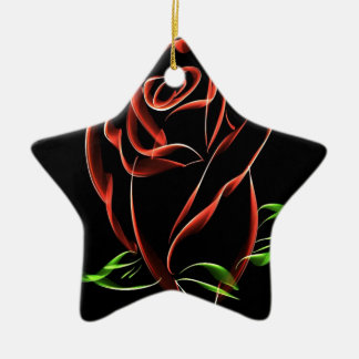Red Roses Ceramic Star Decoration