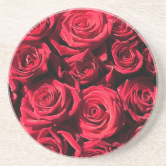 Red roses drink coaster