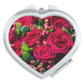 Red roses compact mirror