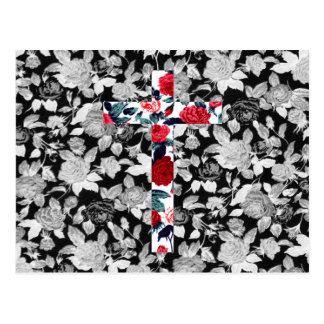 Red Roses Cross & Black and White Floral Pattern Postcard