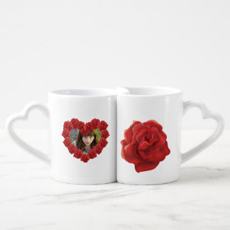 Red roses custom photo Coffee Mug Set