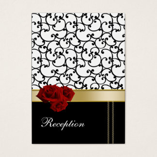 red roses damask Reception   Cards