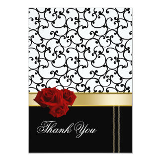 red roses damask Thank You Card 13 Cm X 18 Cm Invitation Card
