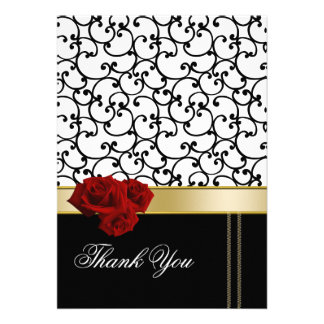 red roses damask Thank You Card Personalized Announcements
