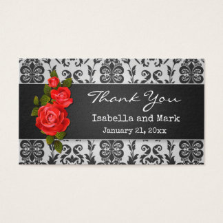 Red roses, damask Wedding  Thank You Business Card