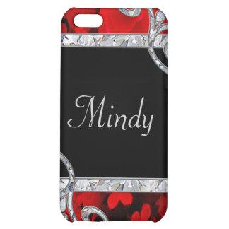 Red Roses & Diamond Swirls Monogram iPhone 5C Covers