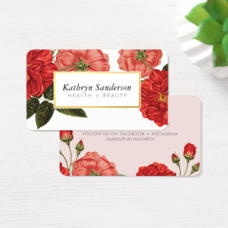 RED ROSES eco floral stylish vintage bouquet Business Card