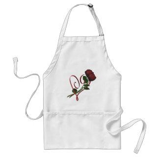 Red Roses Elegant Heart Design Standard Apron