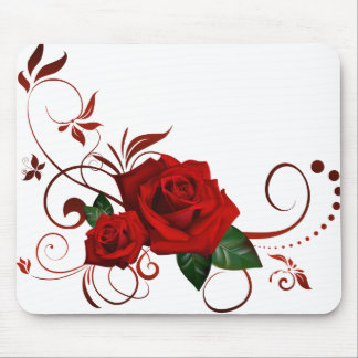 Red Roses Fancy Floral Pattern Mouse Pad