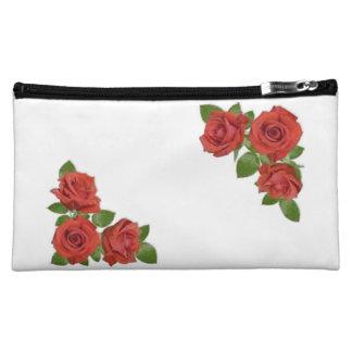 Red Roses Floral Design Makeup Bag