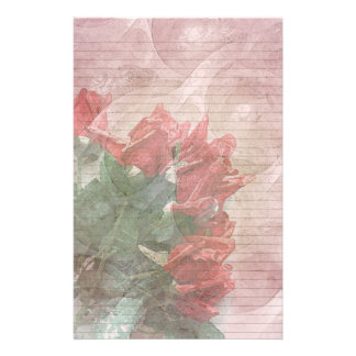Red Roses Floral stationery-optional lines Stationery