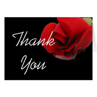 Red roses floral thank you card