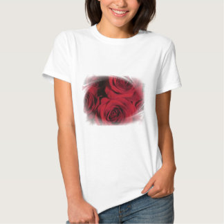 Red Roses flowers nature floral photo white framed Tshirts