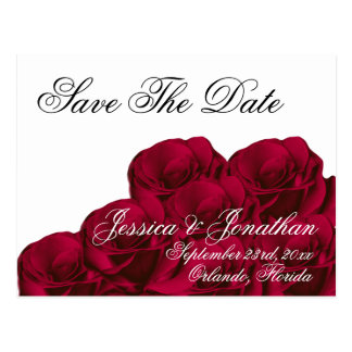 Red Roses Formal Save The Date Postcard