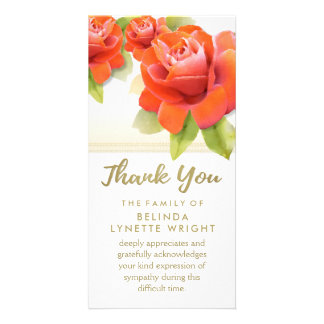 Red Roses Gold Thank You Sympathy Card Personalized Photo Card