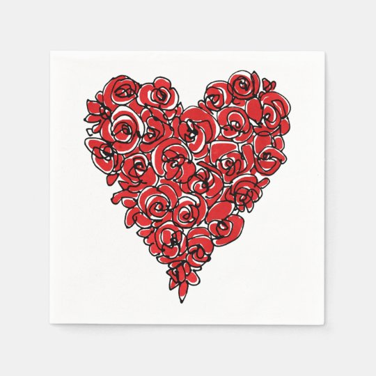 Red Roses Heart Disposable Napkins