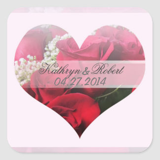 Red Roses heart Save the Date Square Stickers