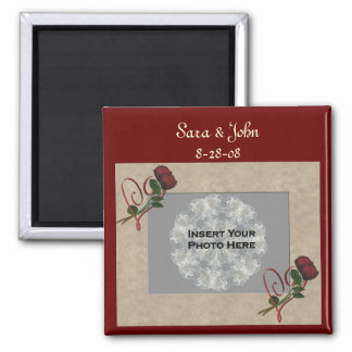 Red Roses Heart Wedding Favor Save The Date Magnet
