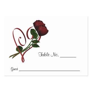Red Roses Heart Wedding Place Cards Personalized Pack Of Chubby Business Cards