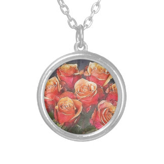Red Roses Illustration Silver Plated Necklace
