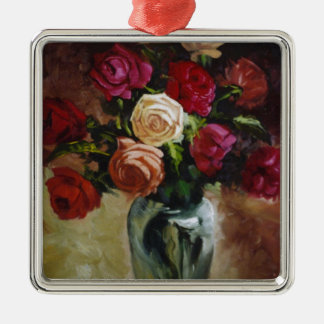 Red Roses in Reflective Vase Metal Ornament