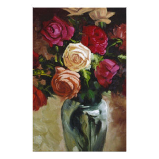 Red Roses in Reflective Vase Stationery