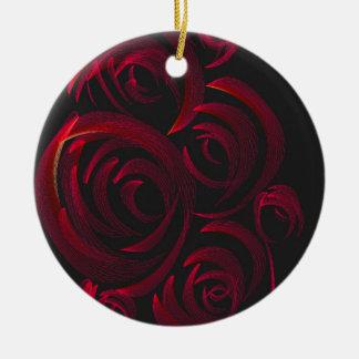Red Roses in the Dark Round Ceramic Ornament
