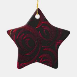 Red Roses in the Dark Ceramic Star Ornament