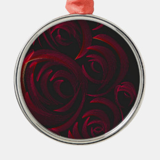 Red Roses in the Dark Silver-Colored Round Decoration