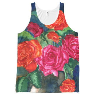 Red Roses in Vase Unisex Tank All-Over Print Tank Top
