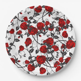 Red Roses Intertwined Paper Plate