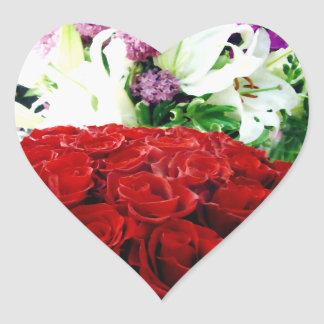 Red Roses & Lilies_ Heart Sticker