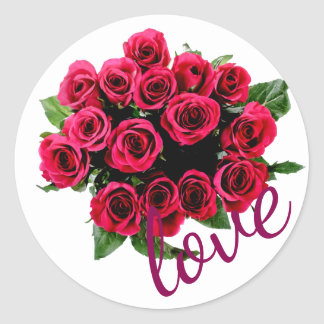 Red Roses, Love on White Wedding Stickers