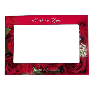 Red Roses Magnetic Frame, - personalize Magnetic Picture Frame
