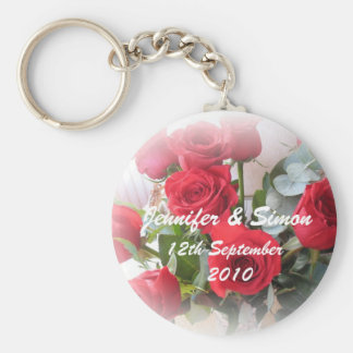 Red Roses Marriage Memento Basic Round Button Key Ring